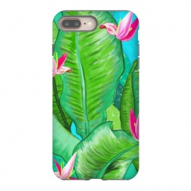 Banana Floral by Uma Prabhakar Gokhale (acrylic, tropical, exotic, nature, floral, flowers, lily pond, banana leaves, banana leaf, banana floral, leaves, pink, blue, green)