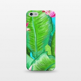 iPhone 5/5E/5s  Banana Floral by Uma Prabhakar Gokhale (acrylic, tropical, exotic, nature, floral, flowers, lily pond, banana leaves, banana leaf, banana floral, leaves, pink, blue, green)