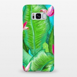 Galaxy S8+  Banana Floral by Uma Prabhakar Gokhale (acrylic, tropical, exotic, nature, floral, flowers, lily pond, banana leaves, banana leaf, banana floral, leaves, pink, blue, green)