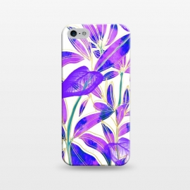 iPhone 5/5E/5s  Ultraviolet Nature by Uma Prabhakar Gokhale (graphic design, watercolor, nature, botanical, ultraviolet, bold, bright, purple, blue, leaves, exotic)