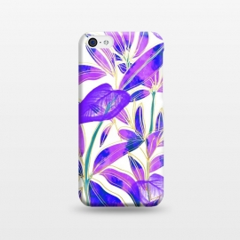 iPhone 5C  Ultraviolet Nature by Uma Prabhakar Gokhale (graphic design, watercolor, nature, botanical, ultraviolet, bold, bright, purple, blue, leaves, exotic)