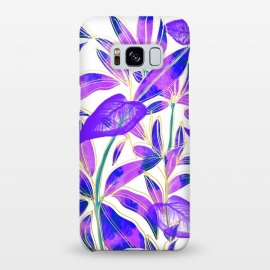 Galaxy S8+  Ultraviolet Nature by Uma Prabhakar Gokhale (graphic design, watercolor, nature, botanical, ultraviolet, bold, bright, purple, blue, leaves, exotic)