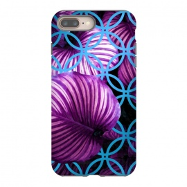 Purple Leaves Blue Geometric by Alemi