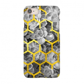iPhone 8/7  Black and White Succulent Gold Geometric by Alemi