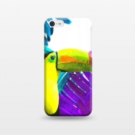 iPhone 5C  Tropical Toucan Palm Leaves by Alemi