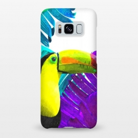 Galaxy S8+  Tropical Toucan Palm Leaves by Alemi