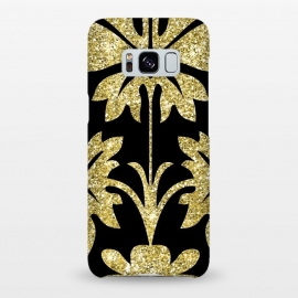 Galaxy S8+  Gold Glitter Black Background by Alemi