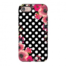 iPhone 8/7  Black Polka Dots and Flowers by Alemi