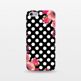 iPhone 5/5E/5s  Black Polka Dots and Flowers by Alemi