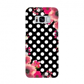 Galaxy S8  Black Polka Dots and Flowers by Alemi