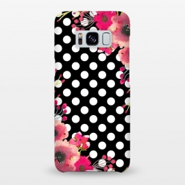 Galaxy S8+  Black Polka Dots and Flowers by Alemi