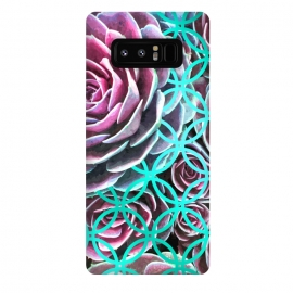 Galaxy Note 8  Purple Cactus Turquoise Circle by Alemi