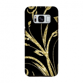 Galaxy S8  Black Gold and Glitter Pattern by Alemi