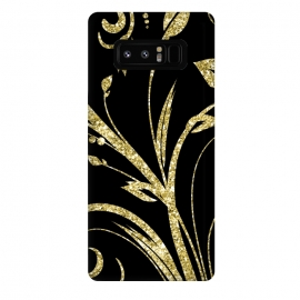 Galaxy Note 8  Black Gold and Glitter Pattern by Alemi