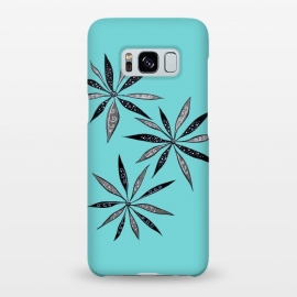 Galaxy S8+  Elegant Thin Flowers With Dots And Swirls On Blue by Boriana Giormova