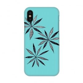 iPhone X  Elegant Thin Flowers With Dots And Swirls On Blue by Boriana Giormova