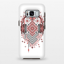 Galaxy S8 plus  Headphones Ornament by  (Ethno, Ukraine, Embroidery, Ornament, Geometry, Vyshyvanka, National, Symbol, Series, Бродівське письмо, talisman, minimal, pattern, Traditional,headphones,music,sound,audio,techno,club,deep,house)