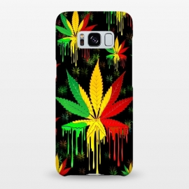 Galaxy S8+  Marijuana Leaf Rasta Colors Dripping Paint by BluedarkArt