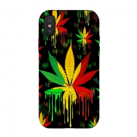Marijuana Leaf Rasta Colors Dripping Paint by BluedarkArt