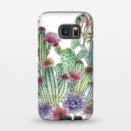 Galaxy S7  Cactus garden by Julia Grifol (cactus, cacti,watercolour,painting,ink,garden,illustration,handrawn,botanical)