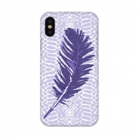 iPhone X  Violet feather by Julia Grifol (violet,feather,illustratio,lilac,snake)