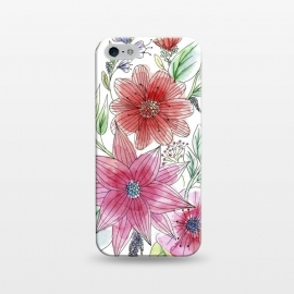 iPhone 5/5E/5s  Wild flowers by Julia Grifol (watercolour,painting,ink,flowers,floral,artistic,garden,spring,botanical)