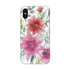 iPhone X  Wild flowers by Julia Grifol (watercolour,painting,ink,flowers,floral,artistic,garden,spring,botanical)