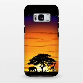 Galaxy S8+  Wild Animals on African Savanna Sunset  by BluedarkArt