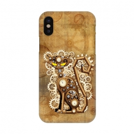 iPhone X  Steampunk Cat Vintage Style by BluedarkArt