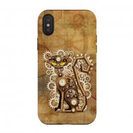 iPhone Xs / X  Steampunk Cat Vintage Style by BluedarkArt (cat, feline, steampunk style, vintage, fantasy steampunk, clock, antique brass, brassy, watch, copper, coppery, metallic, technological, mechanisms, machinery, mechanics, mechanism clockwork, toy, gear, gearwheel, great wheel, animal, grunge, fabric, symbolic, symbol, trendy, stylish, beige, brown)