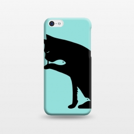 iPhone 5C  Cat and food by Coffee Man (cat, cats, bird, fish, animals, pets, pets lover, anial lovers, optical illusion, negative space,cute, adorable)