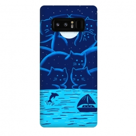 Galaxy Note 8  Cats Landscape by Coffee Man (cats, cat, landscape, marine, summer, night, moon, nature, ocean, sea, spring break, stars)