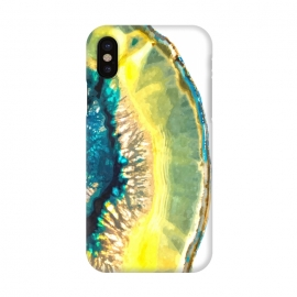 iPhone X  Blue and Yellow Agate by Alemi