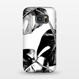 Galaxy S7  Black Monstera Leaves by Alemi