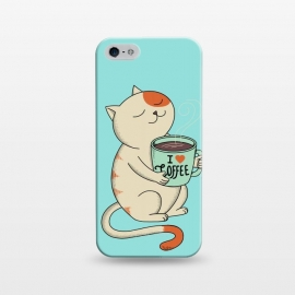 iPhone 5/5E/5s  Cat and Coffee by Coffee Man (cat, cats, kitty, coffee, pet, animal, animals, pets, pet lover, animal lovers, cute, adorable,coffee lover,relax)