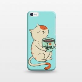 iPhone 5C  Cat and Coffee by Coffee Man (cat, cats, kitty, coffee, pet, animal, animals, pets, pet lover, animal lovers, cute, adorable,coffee lover,relax)