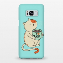 Galaxy S8+  Cat and Coffee by Coffee Man (cat, cats, kitty, coffee, pet, animal, animals, pets, pet lover, animal lovers, cute, adorable,coffee lover,relax)