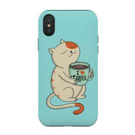 iPhone Xs / X  Cat and Coffee by  (cat, cats, kitty, coffee, pet, animal, animals, pets, pet lover, animal lovers, cute, adorable,coffee lover,relax)