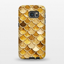 Galaxy S7 EDGE  Faux Gold Glitter Mermaid Scales by Utart