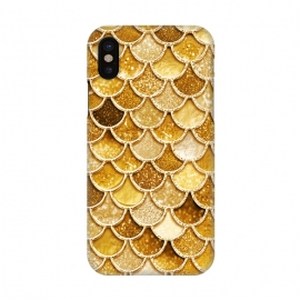 iPhone X  Faux Gold Glitter Mermaid Scales by Utart