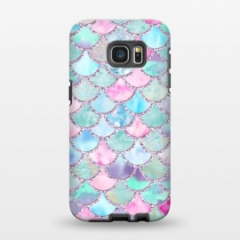Galaxy S7 EDGE  Multicolor Pink & Blue Watercolor Mermaid Scales by Utart