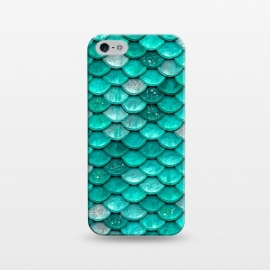 iPhone 5/5E/5s  Mint Glitter Metal Foil Mermaid Scales by Utart