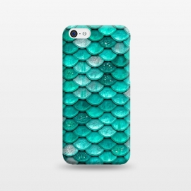 iPhone 5C  Mint Glitter Metal Foil Mermaid Scales by Utart