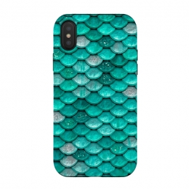 iPhone Xs / X  Mint Glitter Metal Foil Mermaid Scales by Utart (fish, trendy, girly, ocean, sea, shell, metal, mermaid scales, mermaid, scales, metal foil, gatsby, chic, elegant, feminine, luxury, fashion, glitter, glamour, utart,mint,teal,green,blue,aqua,turquoise)