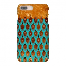 iPhone 8/7 plus  Copper & Teal Gold Mermaid Scales by Utart