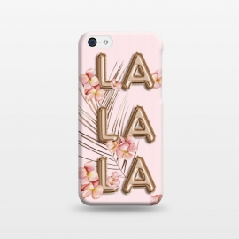 iPhone 5C  LA LA LA - Fun Shiny Rose Gold Girly Flower Typography  by Utart