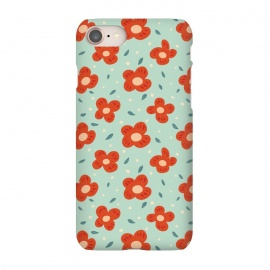 iPhone 8/7  Simple Pretty Orange Flowers Pattern by Boriana Giormova