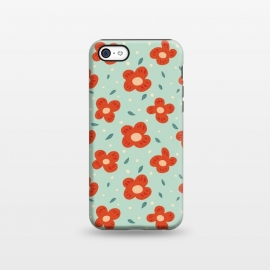 iPhone 5C  Simple Pretty Orange Flowers Pattern by Boriana Giormova