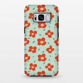 Galaxy S8+  Simple Pretty Orange Flowers Pattern by Boriana Giormova