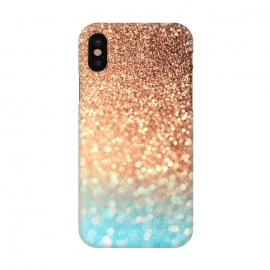 iPhone X  Mermaid Blue and Rose Gold Blush Glitter by Utart